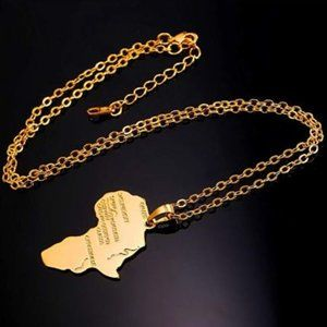 18K Gold Plated Africa Pendant Necklace